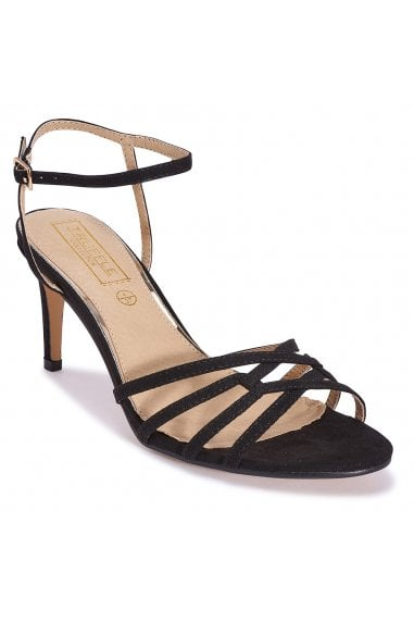 TRUFFLE COLLECTION Black Strappy Slim Heel Sandals with Ankle Strappy Open Toe Sandals