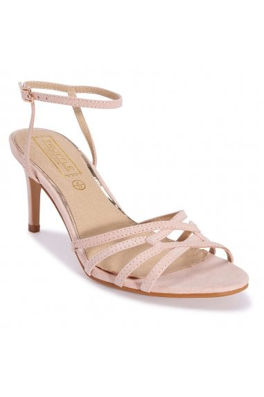 TRUFFLE COLLECTION Nude Strappy Slim Heel Sandals with Ankle Strappy Open Toe Sandals