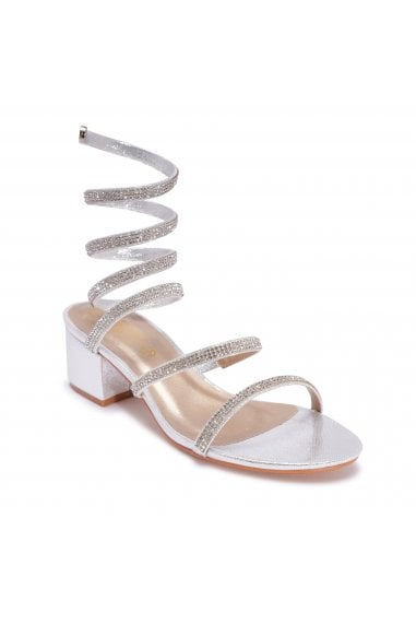 TRUFFLE COLLECTION Silver Diamante Strappy Wrap Around Sandals