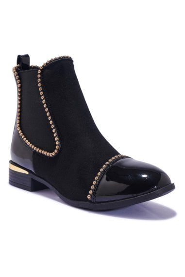 TRUFFLE COLLECTION Black SuedePatent Studded Chelsea Boots