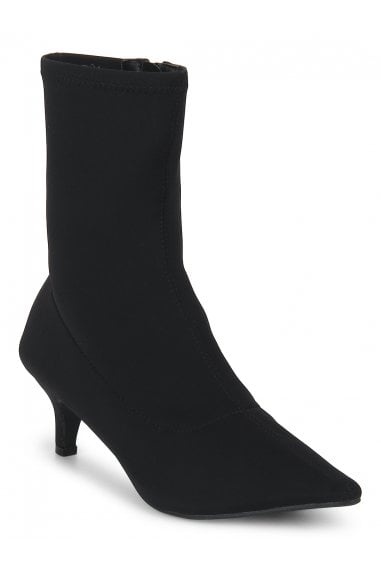 TRUFFLE COLLECTION Black Lycra Kitten Heel Pointed Ankle Sock Boots
