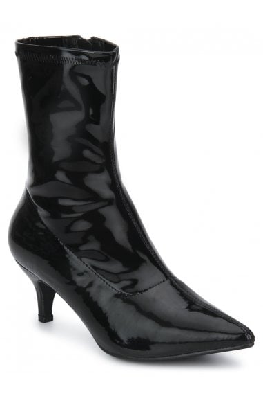 TRUFFLE COLLECTION Black Patent Kitten Heel Pointed Ankle Sock Boots