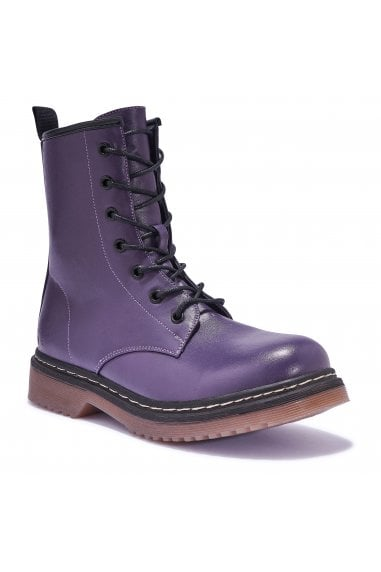 TRUFFLE COLLECTION Purple Lace Up Combat Boots