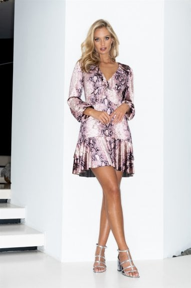 Pink Snakeskin Long Sleeve Frill Mini Dress