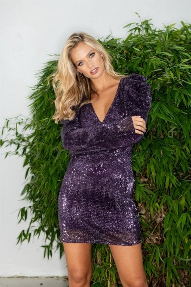 Purple Sequin Puff Sleeve Mini Dress