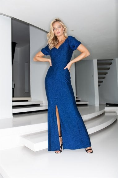 Blue Glitter Maxi Dress With Sweetheart Neckline