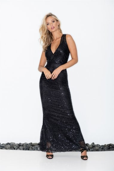 V-Wrap Black Sequin Maxi Dress