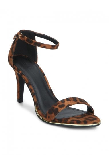 TRUFFLE COLLECTION Leopard Print Open Toe Heel Sandals