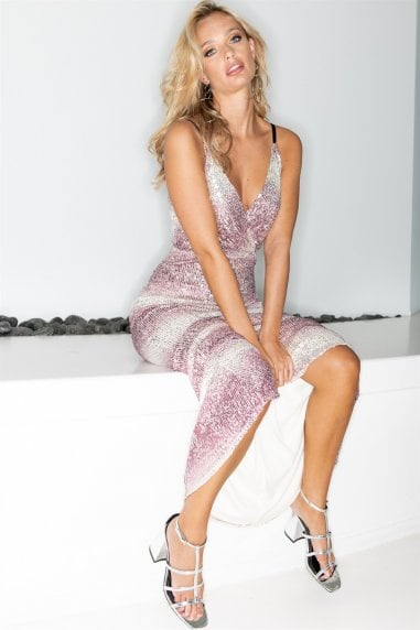 V-Wrap Pink and White Sequin Maxi Dress
