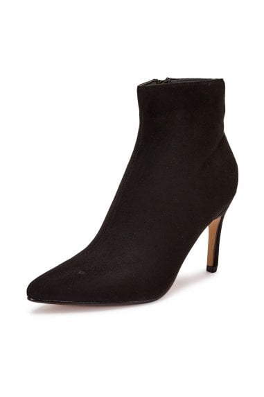 TRUFFLE COLLECTION Black Microfiber High Heel Ankle Boots