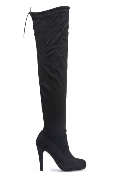 TRUFFLE COLLECTION Black Microfiber High Heel Thigh Boots