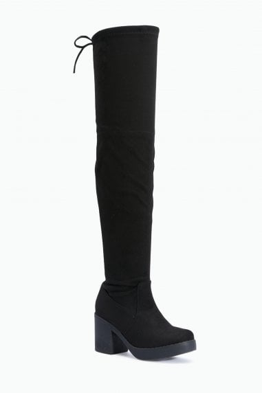 TRUFFLE COLLECTION Black Micro Chunky Sole Long Thigh Boots