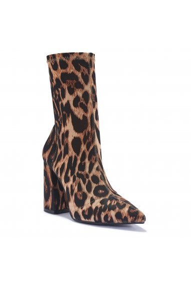 TRUFFLE COLLECTION Leopard Print Block Heel High Ankle Boots