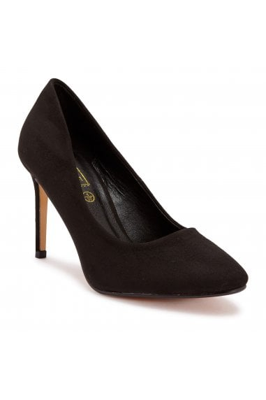 TRUFFLE COLLECTION Black Faux Suede Pointed High Heel Court Shoes