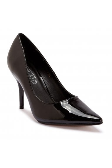 TRUFFLE COLLECTION Black Patent Pointed High Heel Court Shoes