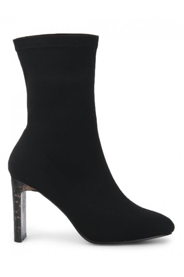 TRUFFLE COLLECTION Black Stretch Lycra Tortoise Shell Heeled Sock Boots