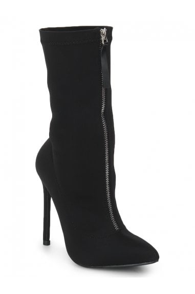 TRUFFLE COLLECTION Black Faux Suede Front Zip Heeled High Ankle Boots