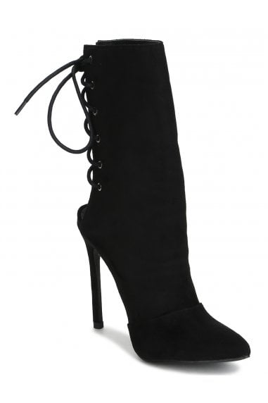 TRUFFLE COLLECTION Black Faux Suede High Heel Laced Back Pointed Boots
