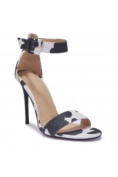 TRUFFLE COLLECTION Black and White Cow Print Strappy High Heel Sandals