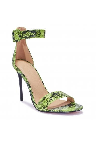 TRUFFLE COLLECTION Green Snake Print Strappy High Heel Sandals