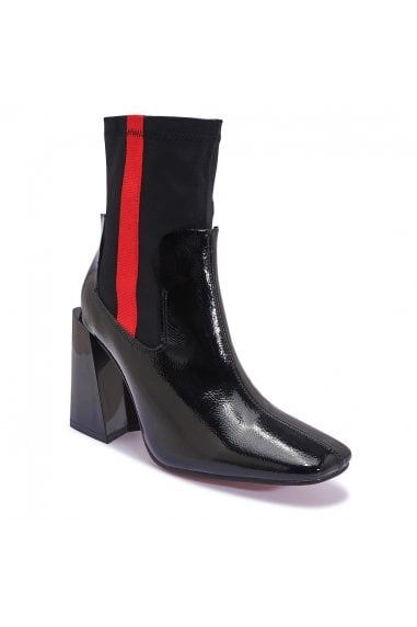 TRUFFLE COLLECTION Black Patent High Heel Red Stripe Ankle Boots