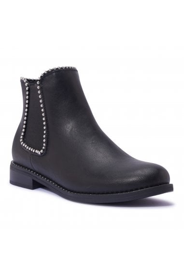 TRUFFLE COLLECTION Black Faux Leather Ankle Boots