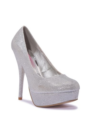TRUFFLE COLLECTION Silver Mesh Peep-Toe Platform High Heels