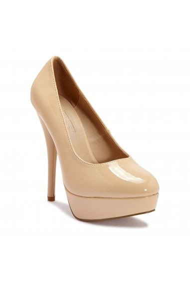 TRUFFLE COLLECTION Nude Patent Peep-Toe Platform High Heels