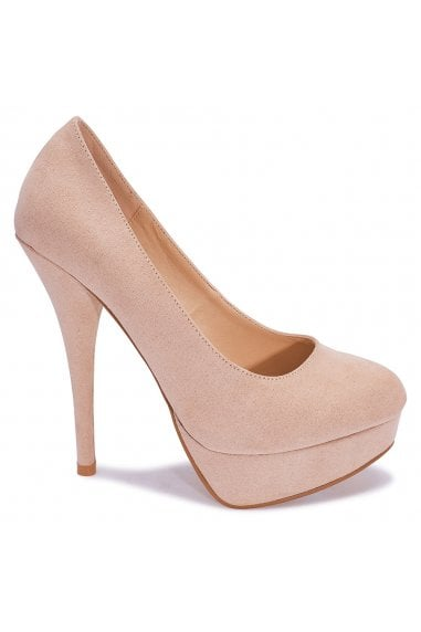 TRUFFLE COLLECTION Nude Faux Suede Peep-Toe Platform High Heels