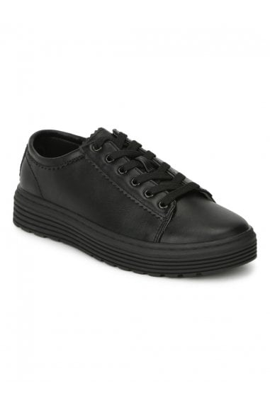 TRUFFLE COLLECTION Black Faux Suede Lace Up Creaper Trainers