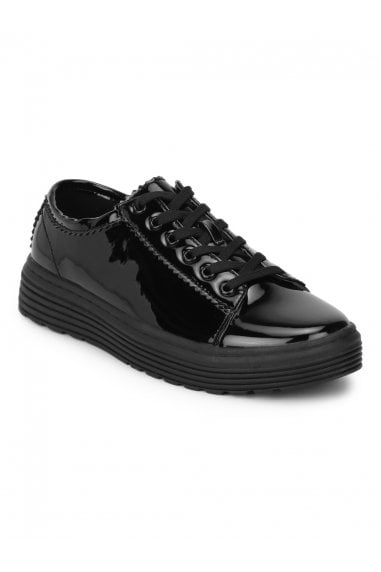 TRUFFLE COLLECTION Black Patent Lace Up Creaper Trainers