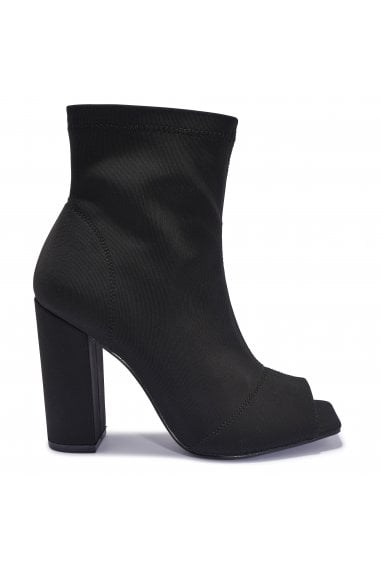 TRUFFLE COLLECTION Black Faux Suede Peep Toe Block Heel Ankle Boots