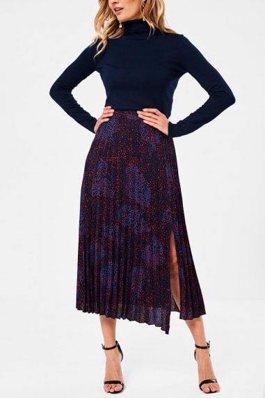 Dakota Pleated Skirt in Blue Animal Print