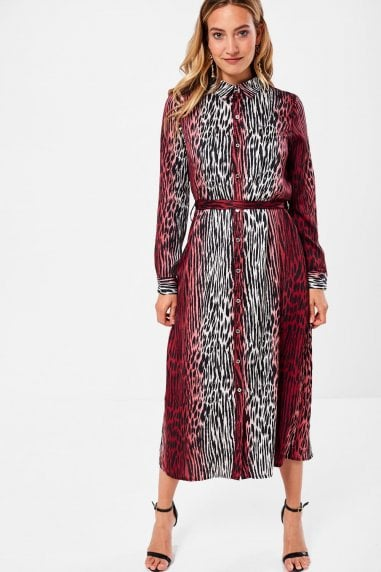Tatum Animal Print Shirt Dress in Wine