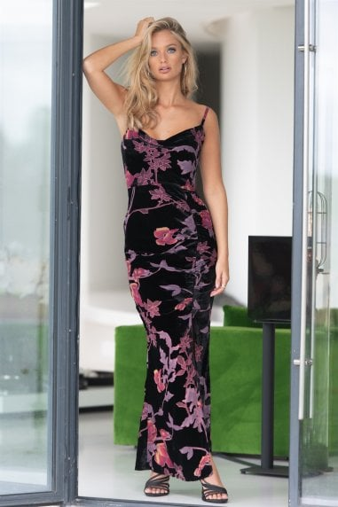 Cowl Neck Burn Out Purple Floral Maxi Dress