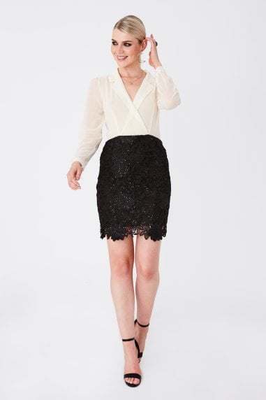 Juniper Monochrome Shirt And Lace Mini Dress