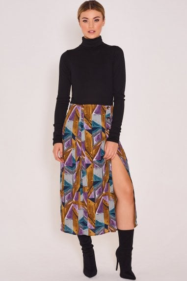 Tasha Printed Maxi Skirt Blue