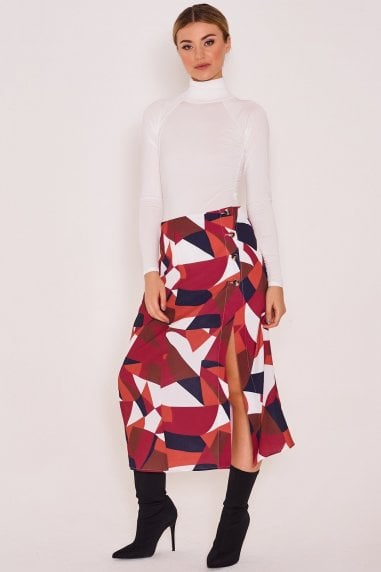 Tasha Printed Maxi Skirt Red