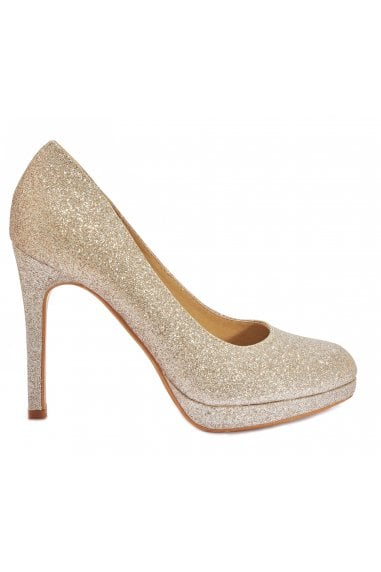 TRUFFLE COLLECTION Champagne Glitter Low Platform High Heels