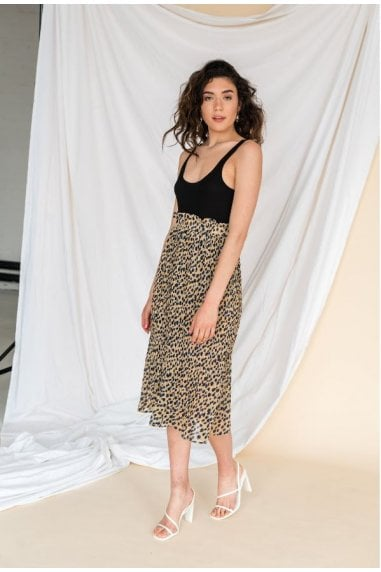 Blue Leopard Print Pleated Skirt