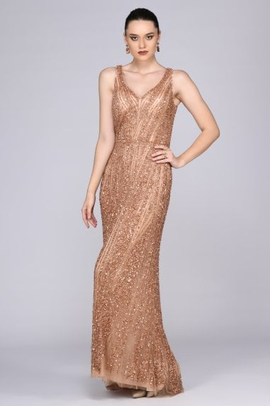 Sophie Maxi Prom Dress in Rose Gold
