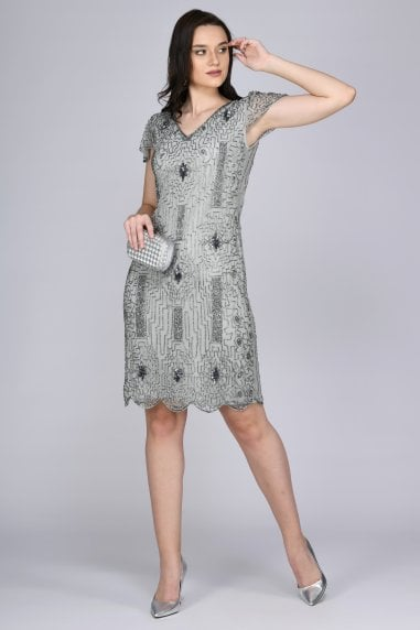 Downton Abbey Flapper Dress in Silver