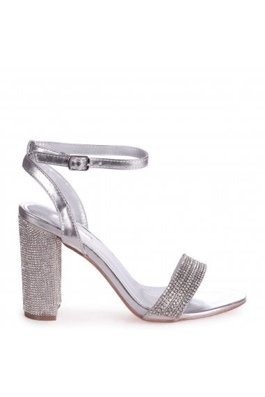 GEORGIE - Silver Metallic Diamante Embellished Block Heel