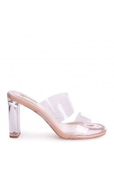 DENI - Nude Perspex Mule With Double Front Strap & Plastic Block Heel