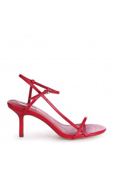 LILIYA - Red Nappa Strappy Low Stiletto Heel
