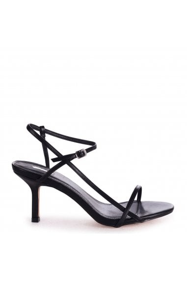 LILIYA - Black Nappa Strappy Low Stiletto Heel