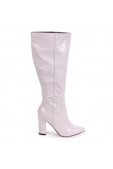 DIONNE - White Croc Cowboy Style Block Heel Long Boot