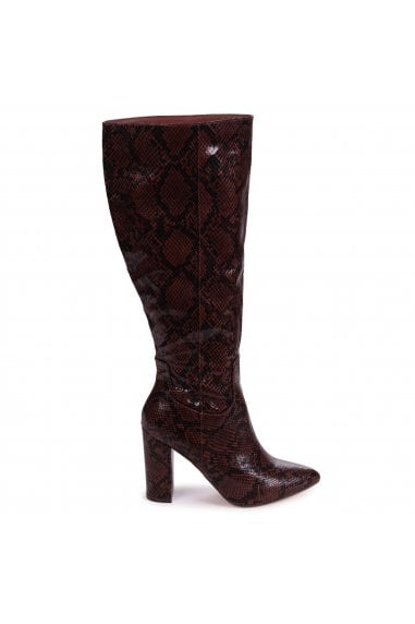 DIONNE - Brown Snake Print Cowboy Style Block Heel Long Boot