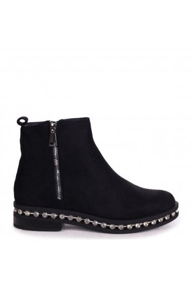 WINONA - Black Suede Chelsea Boot With False Zip & Diamante Trim Around Sole