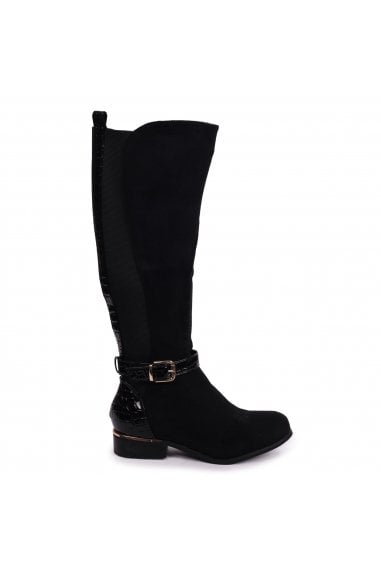 PURA - Black Suede Riding Boot With Patent Croc Back & Elasticated Sides